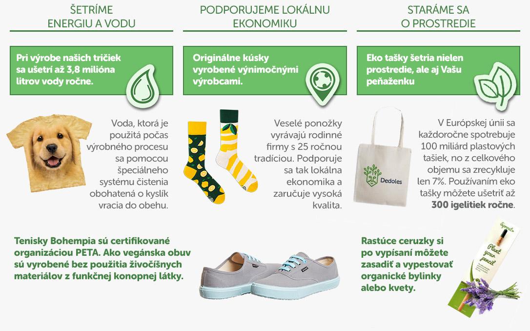 Dedoles ponožky tricka veganske tenisky rastuce ceruzky eko tašky
