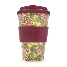 Bambus ecoffee cup Seaweed red William Morris