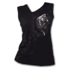 Dámske tielko s nazberkaným rukávomSpiral Direct Pocket kitten