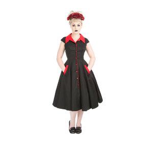 Červeno-čierne gotické retro šaty
