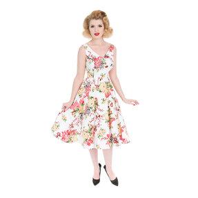 Rochie albă retro pin  up Flori de vară