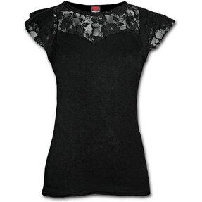 Damen T-Shirt mit Spitze Schwarz