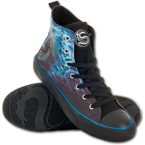Men's Black Sneakers Blue Flame