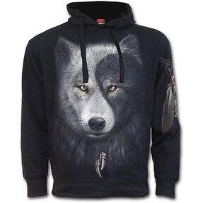 Sweatshirt mit Kapuze und Seitentasche Wolfsgesicht