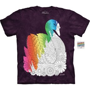 Mandala vyfarbovacie tričko Labuť