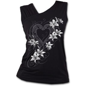 Dámske tielko s nazberkaným rukávom s motívom Biele kvety