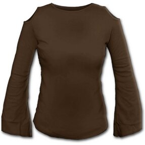 Ladies' Brown T-shirt with Flared Sleeves