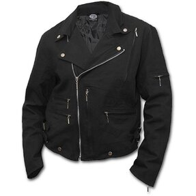 Biker Jacket Denim with Design Finger Bones