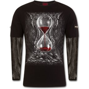 T-shirt with Long Mesh Sleeve Bloody Hourglass
