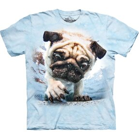 Póló felnőtteknek Játékos kutya a víz alatt mops - kék