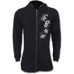 Ladies' Sweatshirt Parka White Flowers
