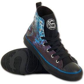Ladies' Black Sneakers Blue Flame