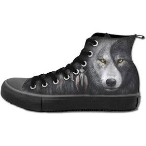 Ladies' Black Sneakers Wolf's Face