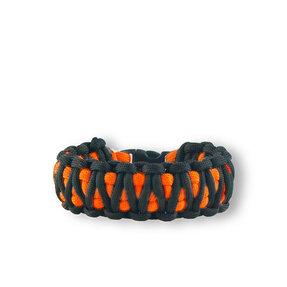 Oranžovo-čierny paracord survival náramok King Cobra