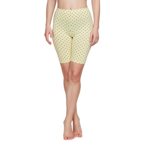 Yellow Cotton Biker Shorts Dots