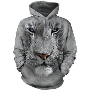 Mikina s kapucňou Biely tiger 3D