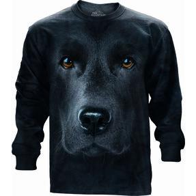 Tričko s dlhým rukávom Tvár čierneho labradora