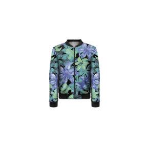 Dámska Bomber bunda Modrozelené kvety