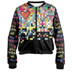 Damen Bomber Jacke Pixel love