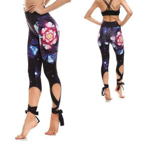 Wiązane sportowe legginsy Galaktyczny kwiat