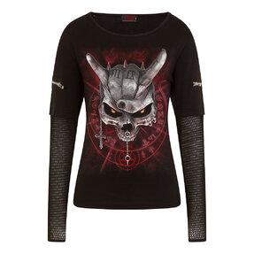 Damen T-Shirt mit vernetzten Ärmeln Schädel mit Hörnern