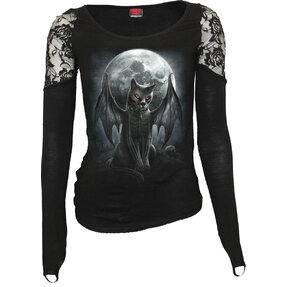 Dámske tričko s dlhým rukávom a čipkou Upíria mačka
