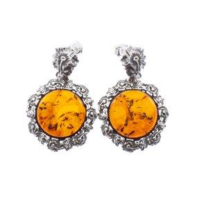 Silberne hängende Ohrringe mit Bernstein Frühlingsblumen