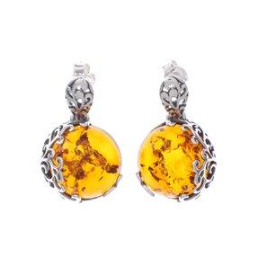 Silberne hängende Ohrringe mit Bernstein Kraft der Natur