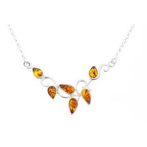 Strieborný náhrdelník s jantárom Strom života