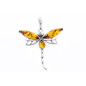 Silberner Anhänger mit Bernstein Libelle