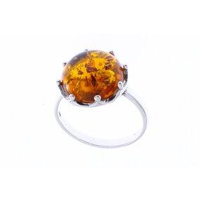 Stříbrný prsten s jantarem koruna