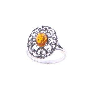 Silberner Ring mit Bernstein Blume