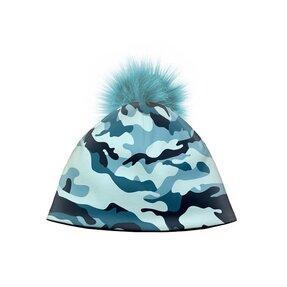 Zimná čiapka s brmbolcom Maskáč modrý