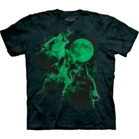 Svietiace tričko Tri vlky vyjúce na mesiac - detské