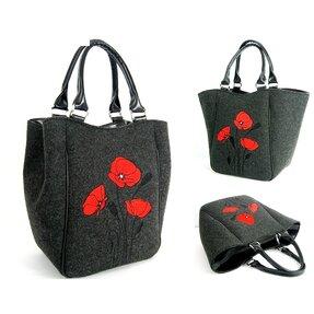 Piknik Handbag Antracit - Red Poppies
