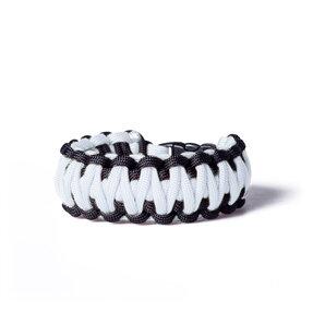 Paracord Überleben-Armband weiß-schwarz