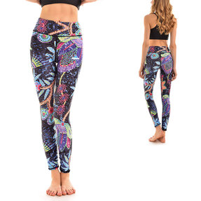 Ladies' Sport Elastic Leggings Neon Flowers