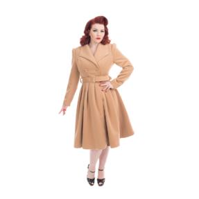 Damen Vintage Mantel mit Gürtel Braun
