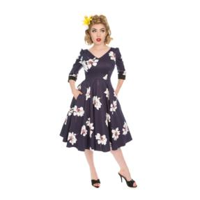Retro pin up šaty s rukávom Biele kvety