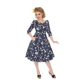 Retro pin up šaty s rukávom Zakliata záhrada