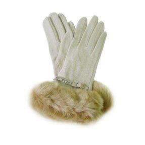 Béžové zimné rukavice s kožušinkou a vybíjanou aplikáciou