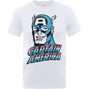 Kinder T-Shirt Weiß Captain America Distressed Head