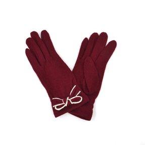 Bordové zimné rukavice s mašľou