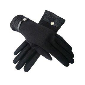 Čierne zimné rukavice Diamantový kvet