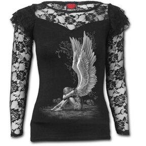 Dámské tričko s krajkou Naříkající anděl bílý