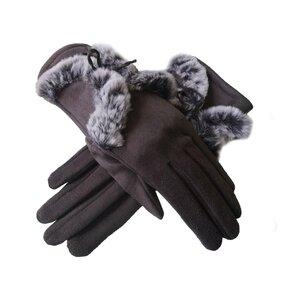 Hnedé semišové rukavice s kožušinovou aplikáciou