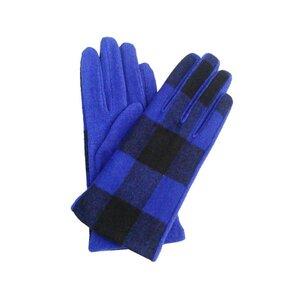 Modré zimné rukavice s kockami