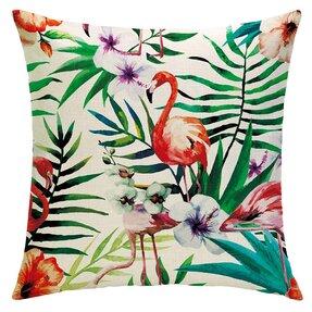 Husă de pernă cu imprimeu pe ambele părți Flamingul botanic
