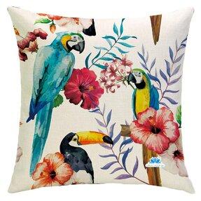 Obojstranná obliečka na vankúš Tukan a papagáje