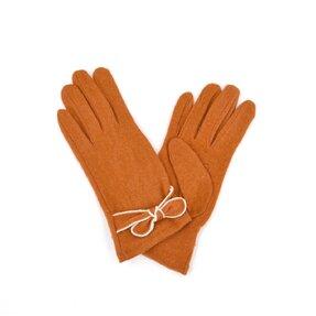 Oranžové zimné rukavice s mašľou